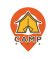 camp tent in forest camping place isolated vector image vector image