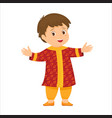 Cartoon little indian boy in national clothes vector image