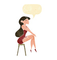 cartoon woman sitting on stool with speech bubble vector image vector image