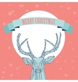Christmas deer on pink background vector image vector image