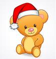 cute cuddly teddy bear with santa hat vector image vector image