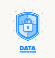 data protection thin blue line design vector image vector image