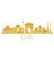 delhi india city skyline golden silhouette vector image vector image