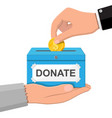 donation box with golden coins vector image vector image