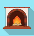 fire warmth and comfort fireplace single icon in vector image vector image