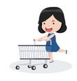 girl with shopping cart vector image vector image
