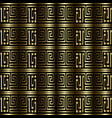 gold 3d greek key meanders seamless pattern vector image