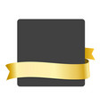 golden ribbon and blank black banner vector image