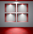 Gray room with niches vector image vector image