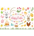 happy easter collection object design element vector image vector image