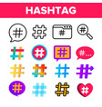 hashtag number sign color icons set vector image