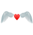 heart and white wings vector image vector image
