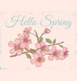 intage postcard with sakura vector image