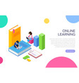 isometric online learning or courses concept vector image vector image