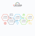 Line infographic template with 5 hexagons options