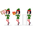 merry christmas and happy new year elf woman set vector image