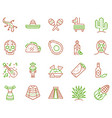 mexico items color linear icons set vector image vector image