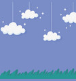 night sky hanging clouds stars grass nature design vector image