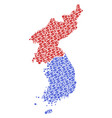 north and south korea map gdp collage of dollar vector image