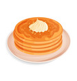 pancakes with whipped cream or meringue on a plate vector image