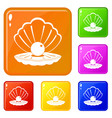 pearl in a sea shell icons set color vector image vector image