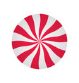 peppermint cream candy spiral red and white form vector image