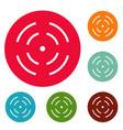 point radar icons circle set vector image