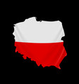 poland flag in form map republic vector image vector image