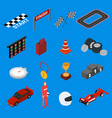 racing sport icon set isometric view vector image vector image