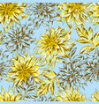 seamless pattern with fluffy yellow dahlias vector image