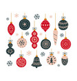 set christmas toys for decorating tree vector image vector image