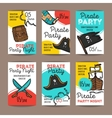 set of funny party flyers Colorful doodle vector image vector image