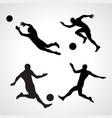 set of silhouettes of dynamic poses football vector image