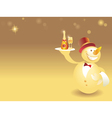 Snowman-waiter with champagne vector image