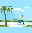sportsman runs in rural landscape vector image vector image