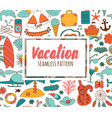 summer vacation set doodle elements seamless vector image vector image