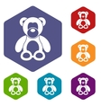Teddy bear icons set vector image vector image