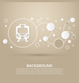 train icon on a brown background with elegant vector image vector image