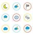 weather icons colored line set with midnight vector image