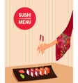 woman hand holds by chopsticks maki sushi vector image vector image