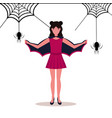 woman wearing bat costume holding wings happy vector image vector image