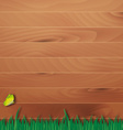 Wooden overlay background with grass vector image