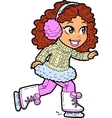 Young Girl Ice Skating vector image vector image