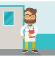 Young male doctor standing with stethoscope vector image vector image