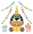Dog with gifts and garlands vector image