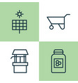 farm icons set collection of sun power source vector image