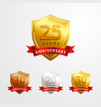 anniversary logo badge design set shinny vector image