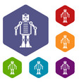 artificial intelligence robot icons set hexagon vector image vector image