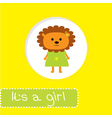 Baby shower card with lion Its a girl vector image vector image