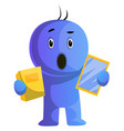 blue cartoon caracter surprised face on white vector image